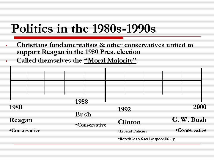 Politics in the 1980 s-1990 s • • Christians fundamentalists & other conservatives united