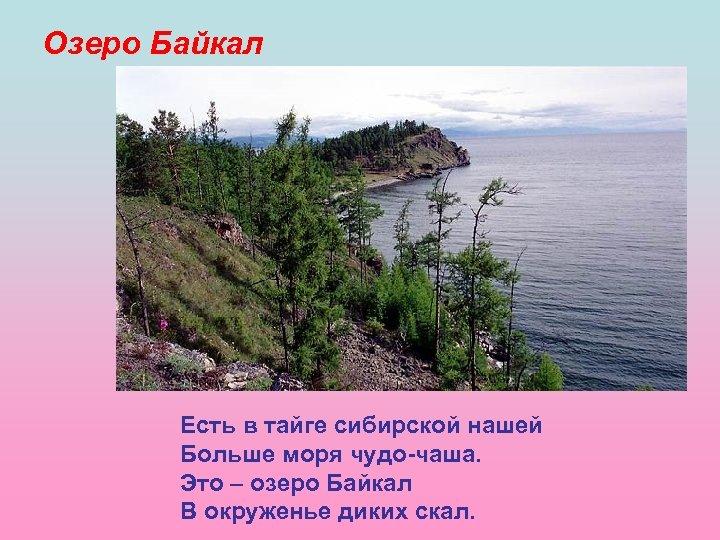 Озеро Байкал Есть в тайге сибирской нашей Больше моря чудо-чаша. Это – озеро Байкал