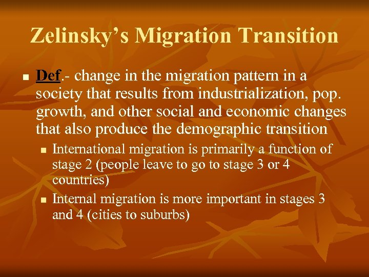 Migration Chapter 3 Migration N Geographers Study