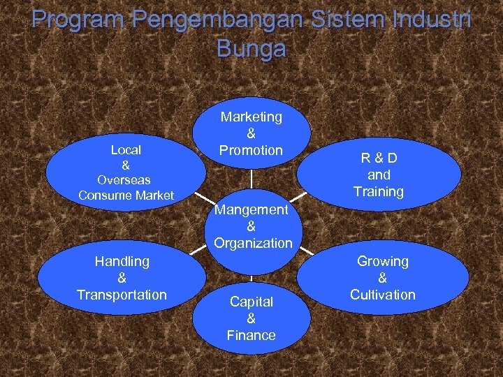 Program Pengembangan Sistem Industri Bunga Local & Overseas Consume Market Handling & Transportation Marketing