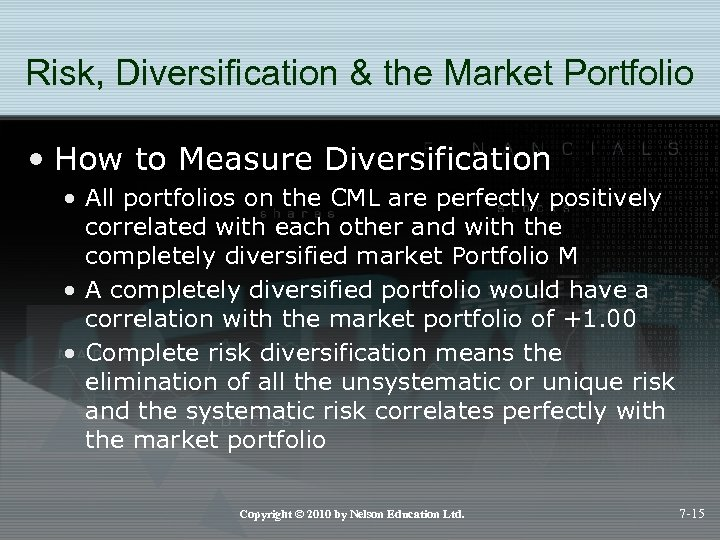 Risk, Diversification & the Market Portfolio • How to Measure Diversification • All portfolios