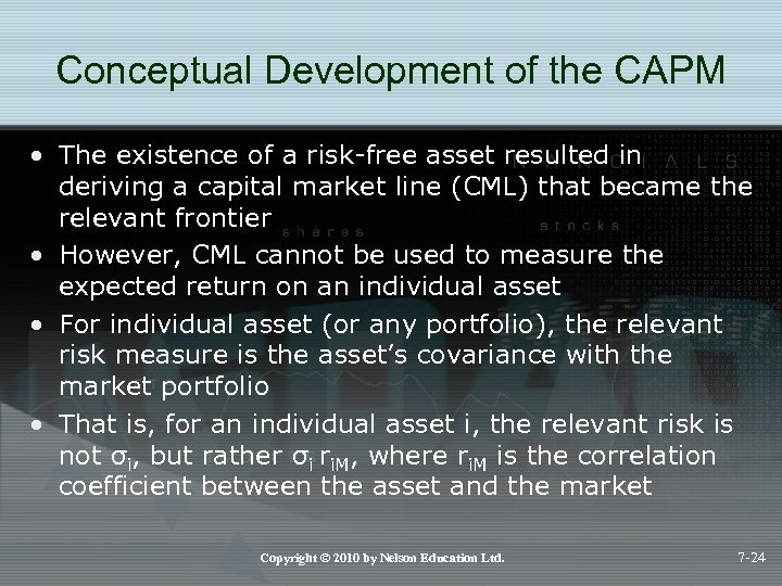 Conceptual Development of the CAPM • The existence of a risk-free asset resulted in