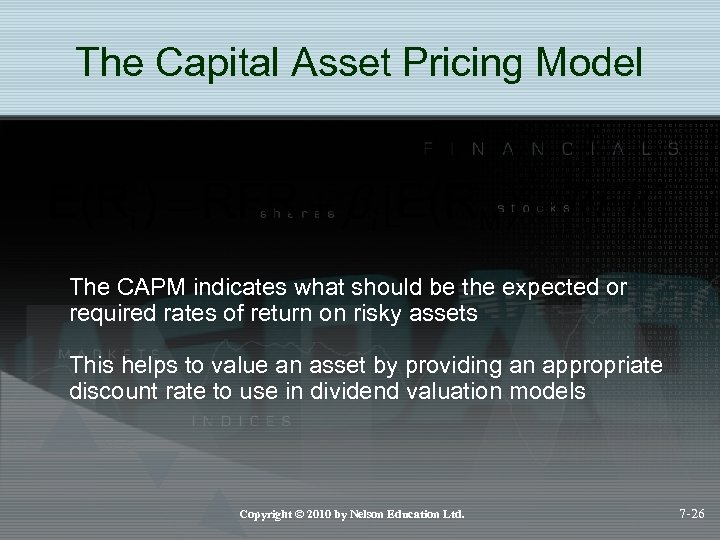 The Capital Asset Pricing Model The CAPM indicates what should be the expected or