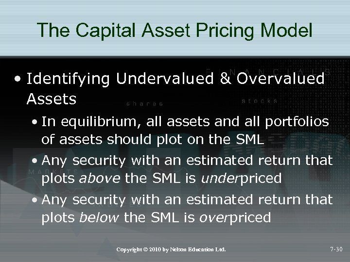 The Capital Asset Pricing Model • Identifying Undervalued & Overvalued Assets • In equilibrium,