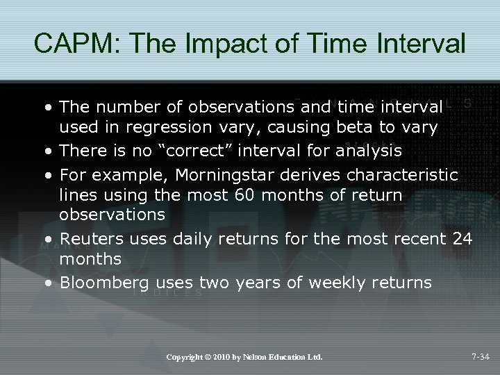CAPM: The Impact of Time Interval • The number of observations and time interval
