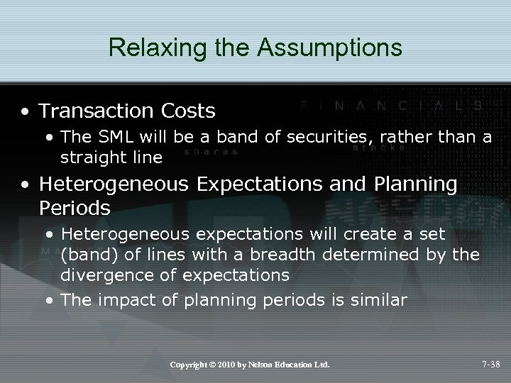 Relaxing the Assumptions • Transaction Costs • The SML will be a band of