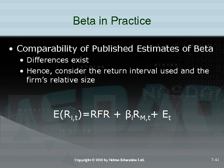 Beta in Practice • Comparability of Published Estimates of Beta • Differences exist •