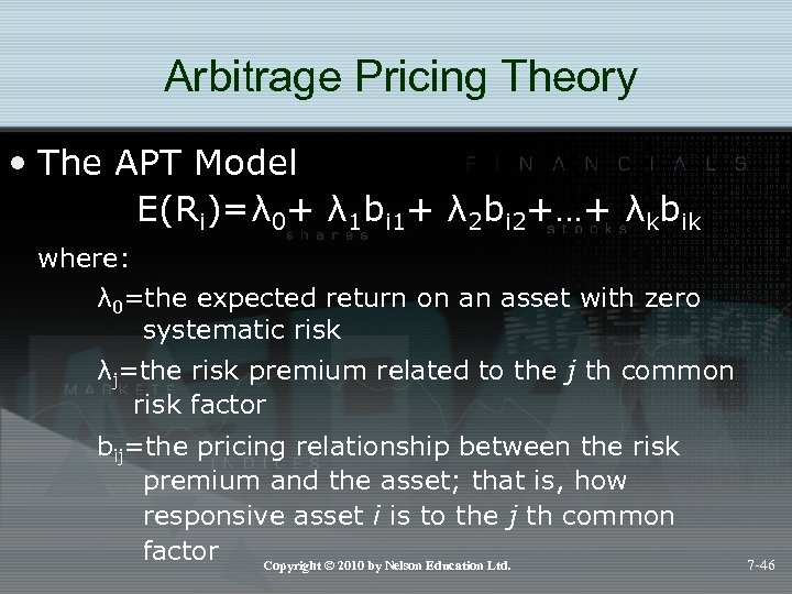 Arbitrage Pricing Theory • The APT Model E(Ri)=λ 0+ λ 1 bi 1+ λ