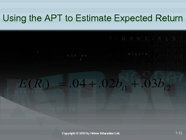 Using the APT to Estimate Expected Return Copyright © 2010 by Nelson Education Ltd.