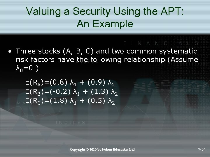 Valuing a Security Using the APT: An Example • Three stocks (A, B, C)