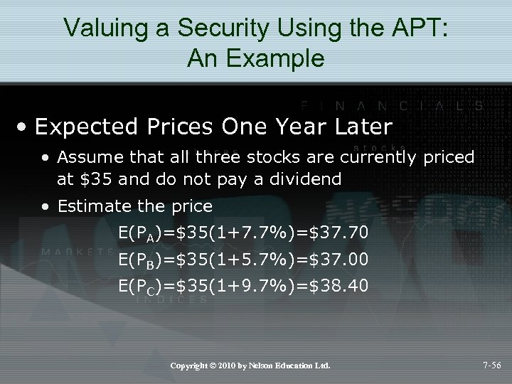 Valuing a Security Using the APT: An Example • Expected Prices One Year Later