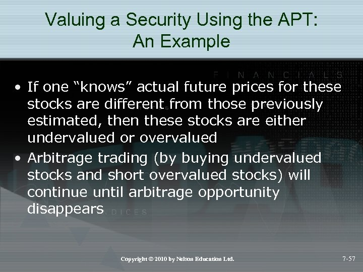 "Valuing a Security Using the APT: An Example • If one ""knows"" actual future"