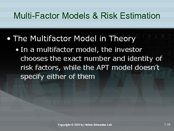 Multi-Factor Models & Risk Estimation • The Multifactor Model in Theory • In a