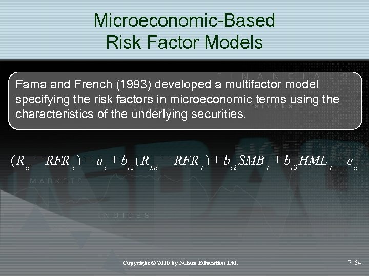 Microeconomic-Based Risk Factor Models Fama and French (1993) developed a multifactor model specifying the