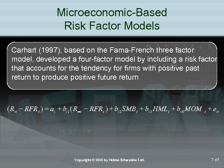 Microeconomic-Based Risk Factor Models Carhart (1997), based on the Fama-French three factor model, developed