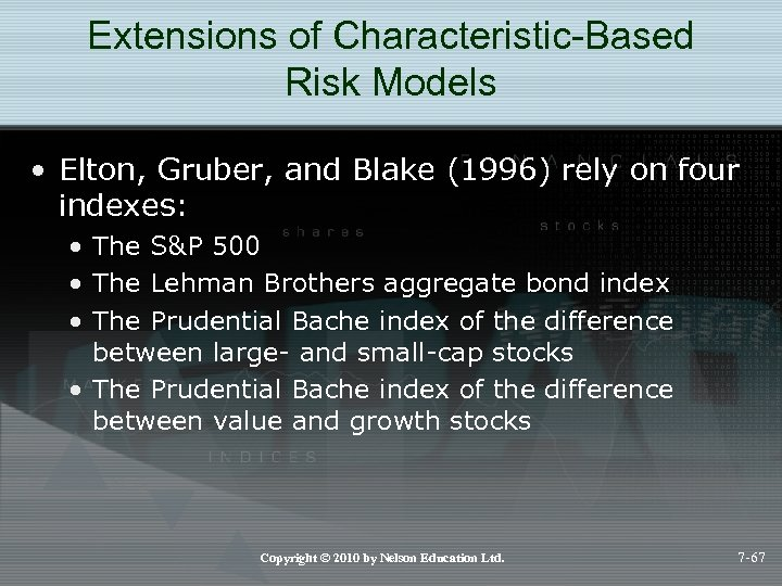 Extensions of Characteristic-Based Risk Models • Elton, Gruber, and Blake (1996) rely on four