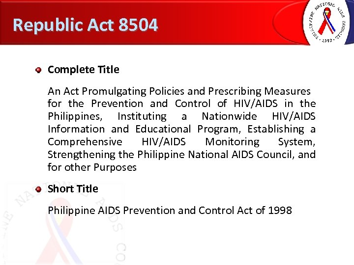 Republic Act 8504 Complete Title An Act Promulgating Policies and Prescribing Measures for the
