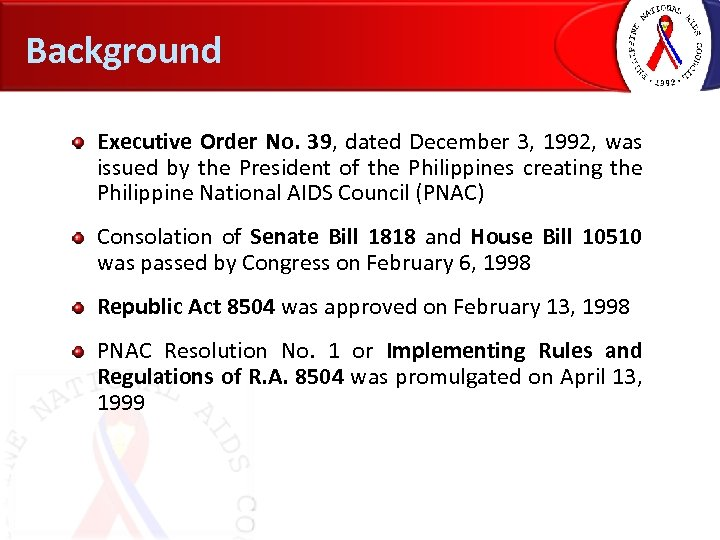 Background Executive Order No. 39, dated December 3, 1992, was issued by the President