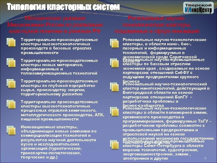 Типология кластерных систем Методические указания Минэкономики России по реализации кластерной политики в регионах РФ