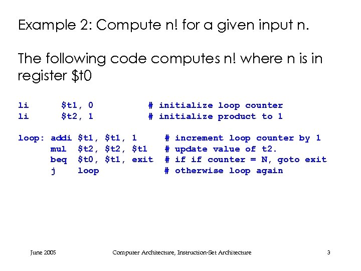 Example 2: Compute n! for a given input n. The following code computes n!