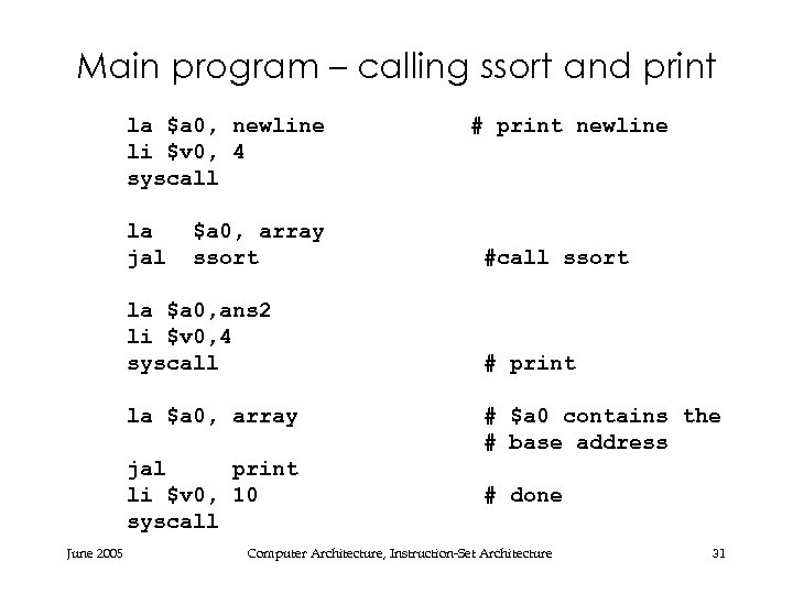 Main program – calling ssort and print la $a 0, newline li $v 0,