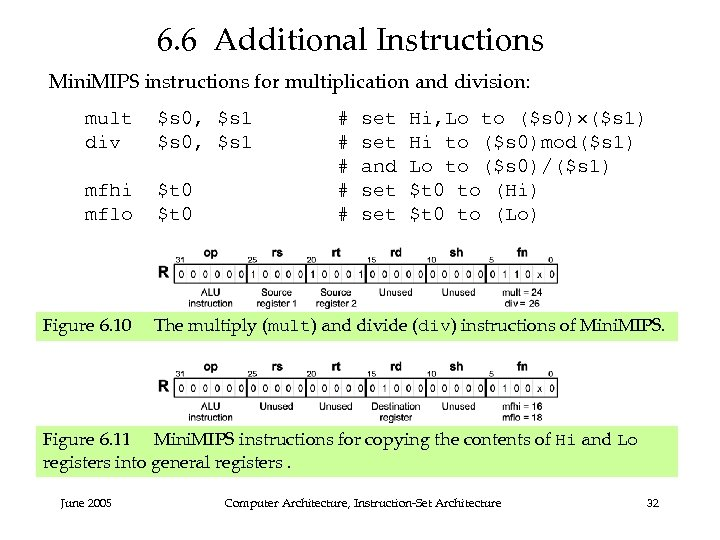 6. 6 Additional Instructions Mini. MIPS instructions for multiplication and division: mult div $s