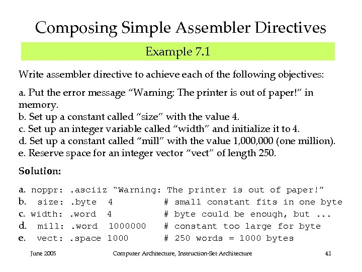 Composing Simple Assembler Directives Example 7. 1 Write assembler directive to achieve each of