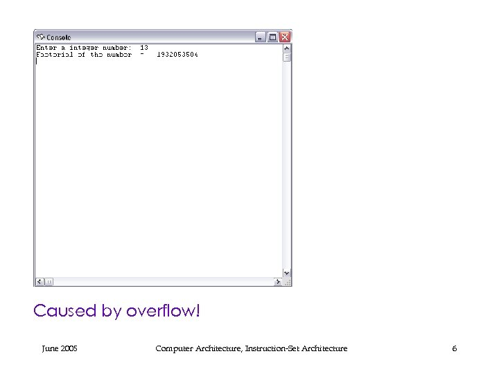 Caused by overflow! June 2005 Computer Architecture, Instruction-Set Architecture 6