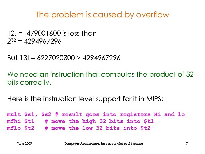 The problem is caused by overflow 12! = 479001600 is less than 232 =