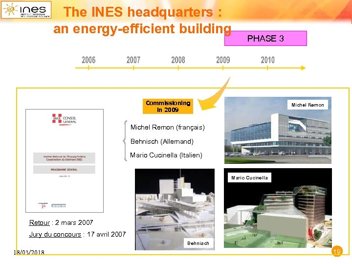 The INES headquarters : an energy-efficient building PHASE 3 Commissioning in 2009 Michel Remon