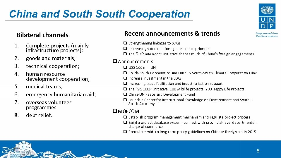 China and South Cooperation Bilateral channels 1. 2. 3. 4. 5. 6. 7. 8.