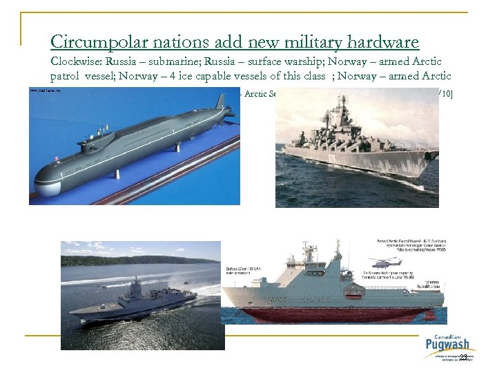 Circumpolar nations add new military hardware Clockwise: Russia – submarine; Russia – surface warship;