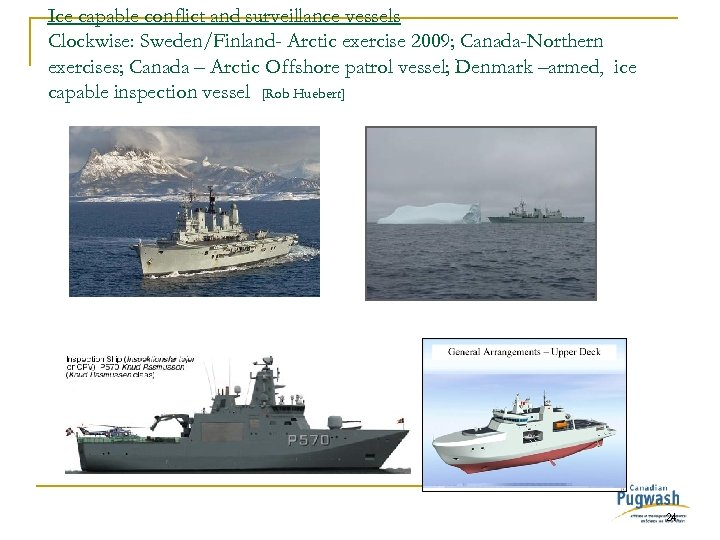 Ice capable conflict and surveillance vessels Clockwise: Sweden/Finland- Arctic exercise 2009; Canada-Northern exercises; Canada