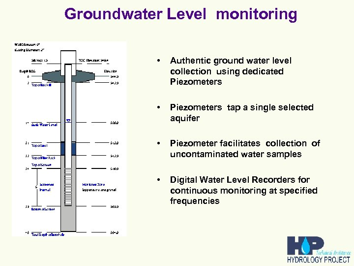 Groundwater Level monitoring • Authentic ground water level collection using dedicated Piezometers • Piezometers