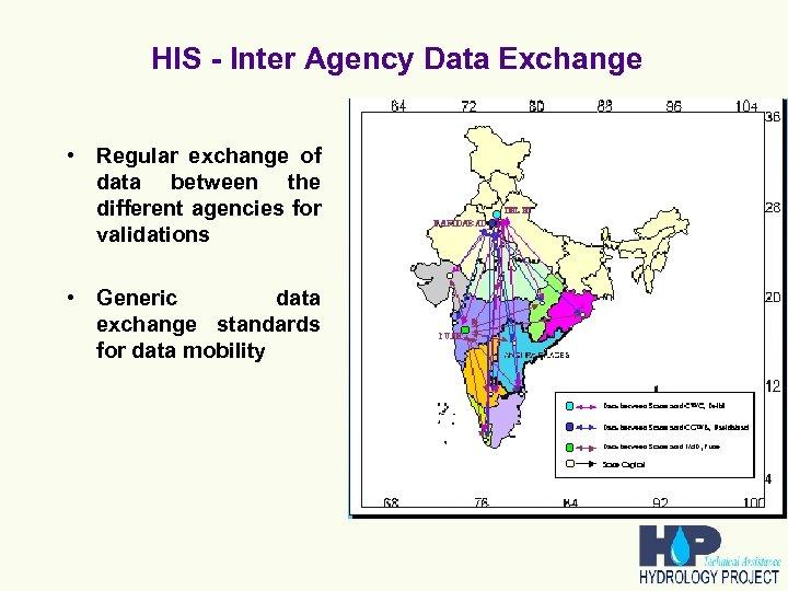 HIS - Inter Agency Data Exchange • Regular exchange of data between the different