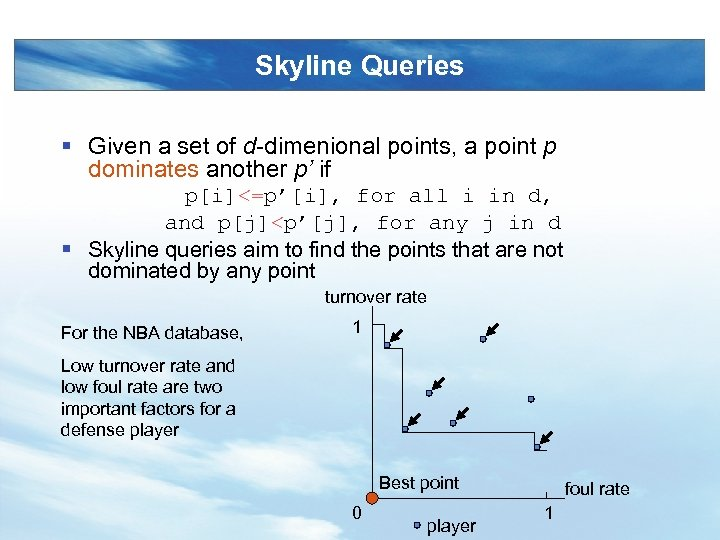 Skyline Queries § Given a set of d-dimenional points, a point p dominates another