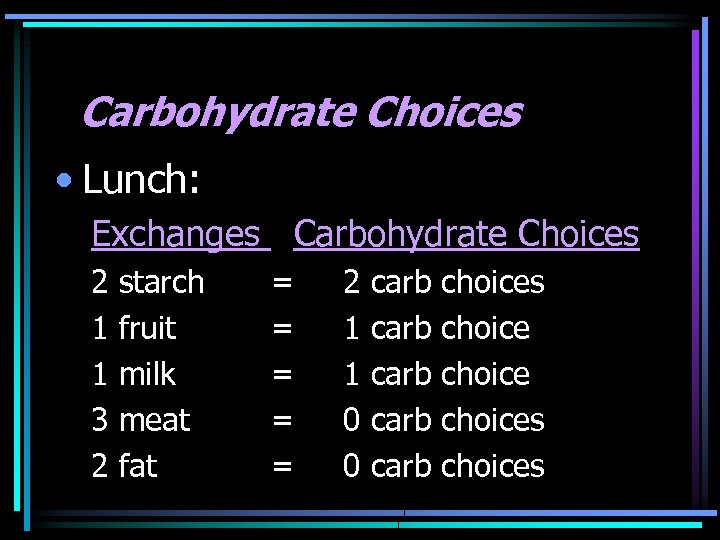 Carbohydrate Choices • Lunch: Exchanges Carbohydrate Choices 2 1 1 3 2 starch fruit