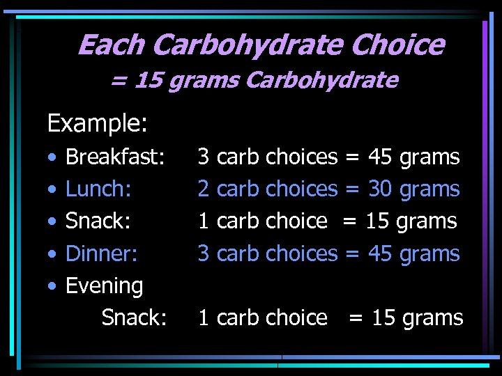 Each Carbohydrate Choice = 15 grams Carbohydrate Example: • • • Breakfast: Lunch: Snack: