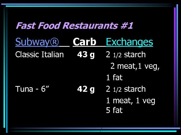 "Fast Food Restaurants #1 Subway® Carb Exchanges Classic Italian 43 g Tuna - 6"""