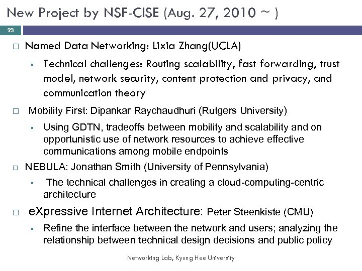 New Project by NSF-CISE (Aug. 27, 2010 ~ ) 23 Named Data Networking: Lixia