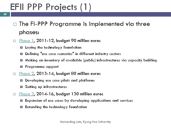 EFII PPP Projects (1) 49 The FI-PPP Programme is implemented via three phases: Phase