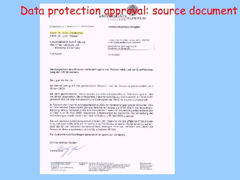 Data protection approval: source document