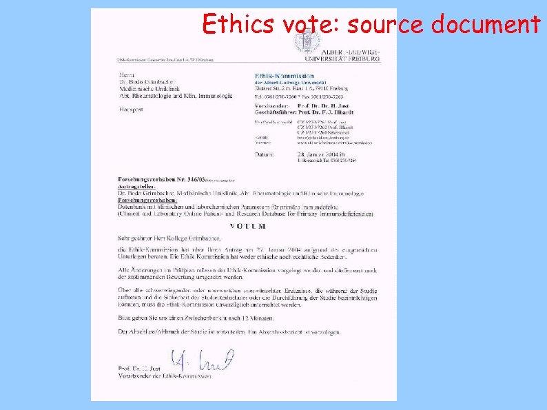 Ethics vote: source document