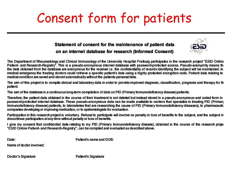 Consent form for patients