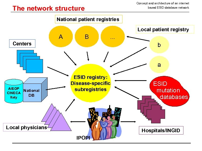 Concept and architecture of an internet based ESID database network The network structure National