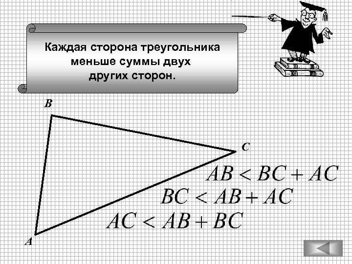 Каждая сторона треугольника меньше суммы двух других сторон. В С А