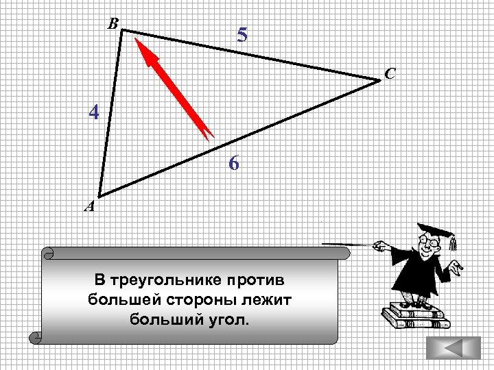 В 5 С 4 6 А В треугольнике против большей стороны лежит больший угол.