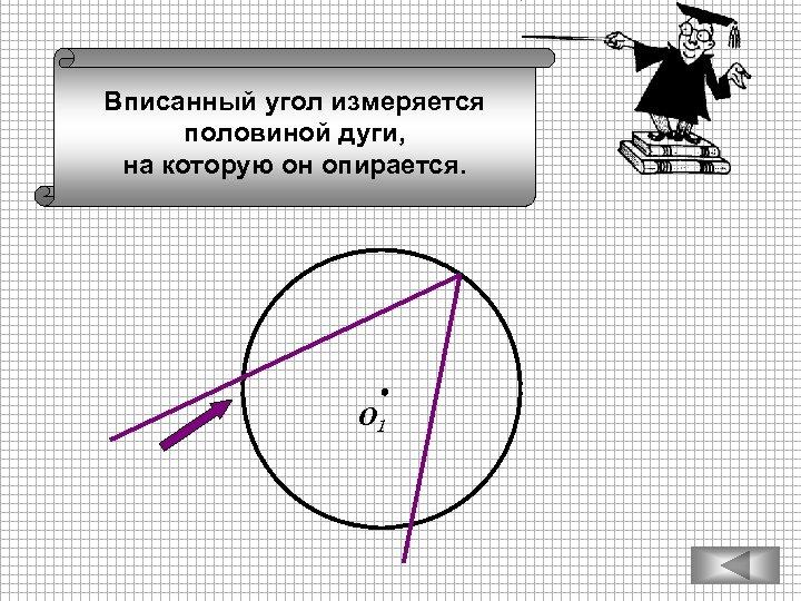 Вписанный угол измеряется половиной дуги, на которую он опирается. О 1