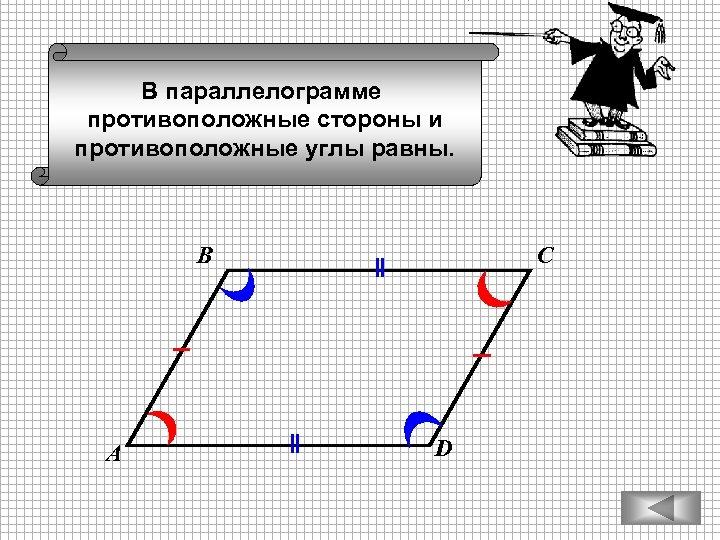 В параллелограмме противоположные стороны и противоположные углы равны. В А С D