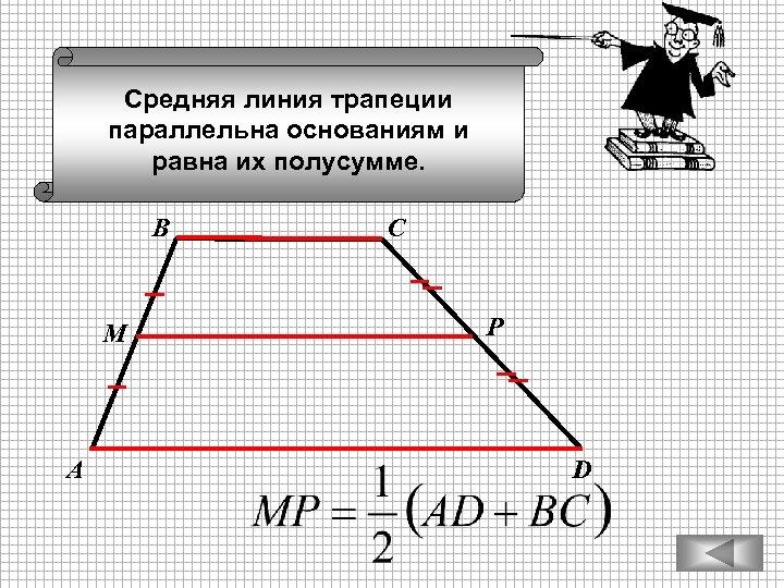 Средняя линия трапеции параллельна основаниям и равна их полусумме. В М А С Р